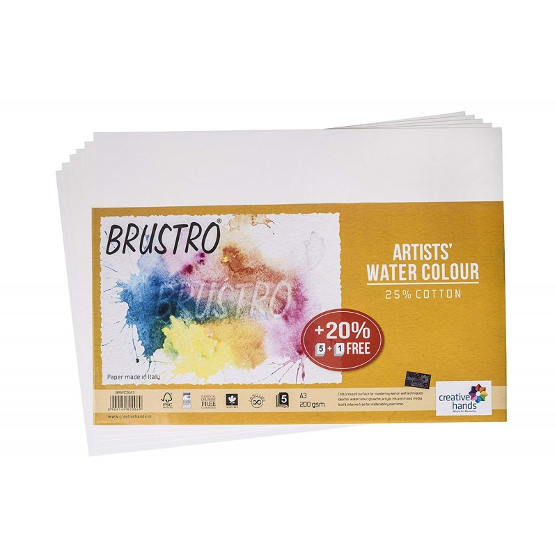buy brustro artists watercolor paper 25 cotton 200 gsm a3