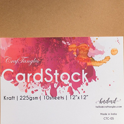 CrafTangles cardstock 12 by 12 (225 gsm) (Set of 10 sheets) - Kraft