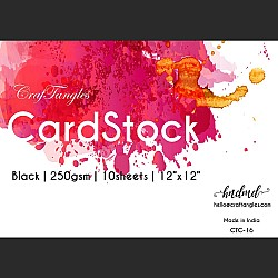 """CrafTangles Black cardstock (Set of 10 sheets) - 12"""" by 12"""" (250 gsm)"""
