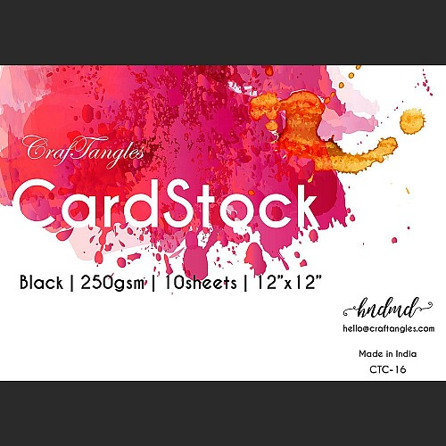 "CrafTangles Black cardstock (Set of 10 sheets) - 12"" by 12"" (250 gsm)"