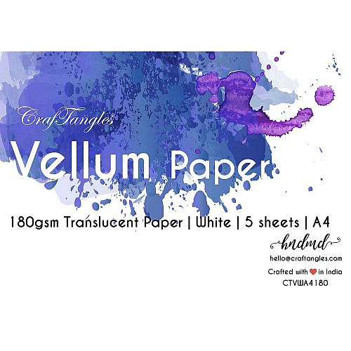 CrafTangles Paper Vellum - White A4 (180 gsm) (Set of 5 sheets)