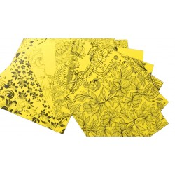 "CrafTangles Cardstock Pack - Florals (Yellow) - 8"" by 8"" (250 gsm)"