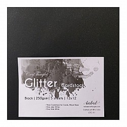 CrafTangles Glitter Cardstock (Set of 5 sheets) - Black