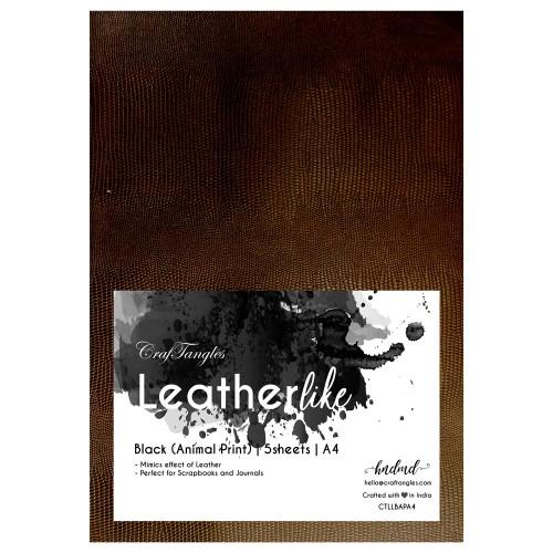 CrafTangles Leatherlike Paper - Black (Animal Print) (Set of 5 sheets)