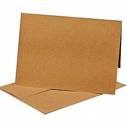 CrafTangles Notelets (Card bases and coordinating envelopes) - Kraft Brown (10 pcs) - 225 gsm