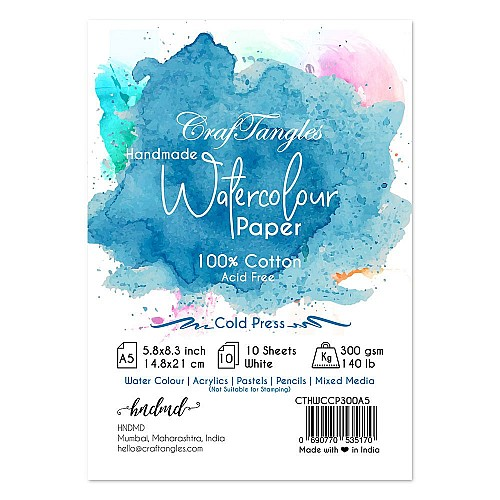 CrafTangles 100% cotton 300 gsm Cold Press handmade Watercolor Paper (Pack of 10) - A5