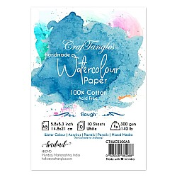 CrafTangles 100% cotton 300 gsm Rough handmade Watercolor Paper (Pack of 10) - A5