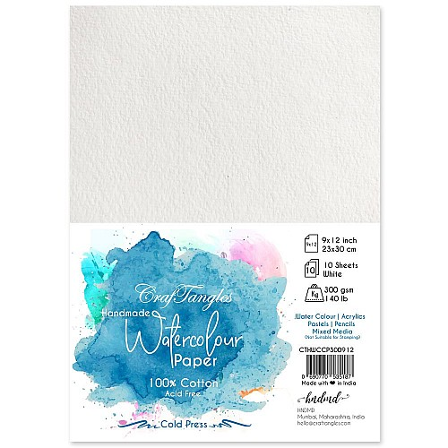 CrafTangles 100% cotton 300 gsm Cold Press handmade Watercolor Paper (Pack of 10) - 9 by 12 inches