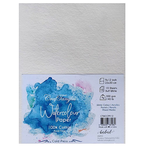 CrafTangles 100% cotton cold press 300 gsm Watercolor Paper  (Pack of 10) - 9 by 12 inches