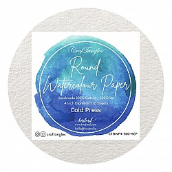 CrafTangles Round Handmade Watercolor paper 100% cotton 300 gsm Cold Press (Pack of 10)