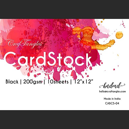 """CrafTangles Black cardstock (Set of 10 sheets) - 12"""" by 12"""" (200 gsm)"""