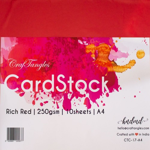 CrafTangles cardstock A4 (250 gsm) (Set of 10 sheets) - Rich Red