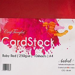 CrafTangles cardstock A4 (250 gsm) (Set of 10 sheets) - Ruby Red