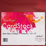 """CrafTangles cardstock 12"""" by 12"""" (250 gsm) (Set of 10 sheets) - Wine Red"""