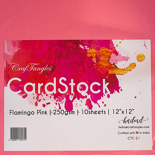 CrafTangles cardstock 12 by 12 (250 gsm) (Set of 10 sheets) - Flamingo Pink