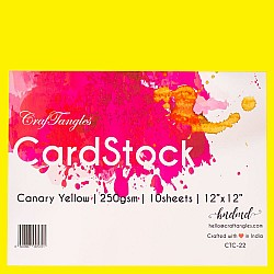 CrafTangles cardstock 12 by 12 (250 gsm) (Set of 10 sheets) - Canary Yellow