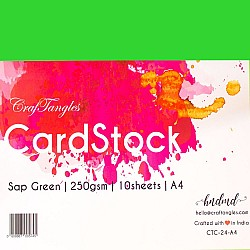CrafTangles cardstock A4 (250 gsm) (Set of 10 sheets) - Sap Green