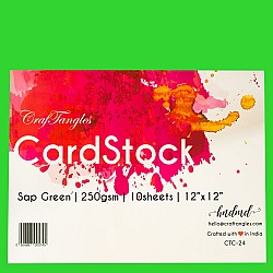 "CrafTangles cardstock 12"" by 12"" (250 gsm) (Set of 10 sheets) - Sap Green"
