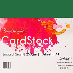CrafTangles cardstock A4 (250 gsm) (Set of 10 sheets) - Emerald Green
