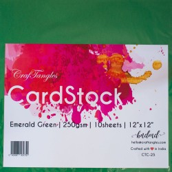 "CrafTangles cardstock 12"" by 12"" (250 gsm) (Set of 10 sheets) - Emerald Green"