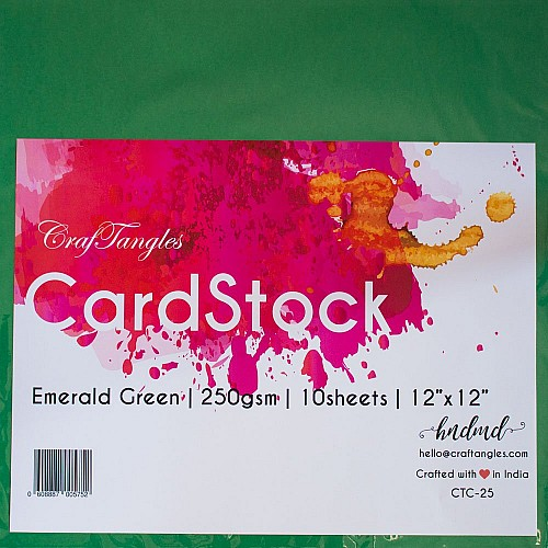 CrafTangles cardstock 12 by 12 (250 gsm) (Set of 10 sheets) - Emerald Green