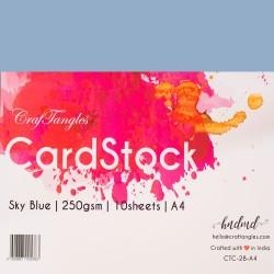 CrafTangles cardstock A4 (250 gsm) (Set of 10 sheets) - Sky Blue