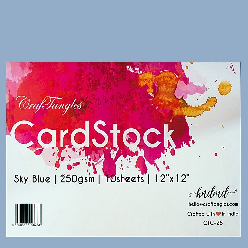 "CrafTangles cardstock 12"" by 12"" (250 gsm) (Set of 10 sheets) - Sky Blue"