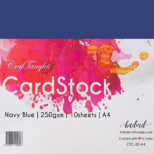 CrafTangles cardstock A4 (250 gsm) (Set of 10 sheets) - Navy Blue