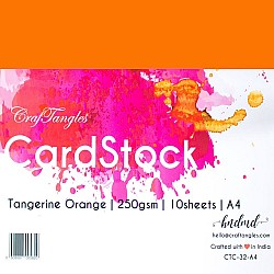 CrafTangles cardstock A4 (250 gsm) (Set of 10 sheets) - Tangerine Orange