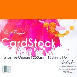 CrafTangles cardstock A4 (250 gsm) (Set of 10 sheets) - Tangerine Orange
