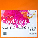 CrafTangles cardstock 12 by 12 (250 gsm) (Set of 10 sheets) - Tangerine Orange