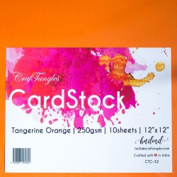 CrafTangles cardstock 12 by 12 (250 gsm) (Set of 10 sheets) - Tangerine Orange