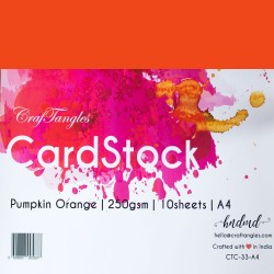 CrafTangles cardstock A4 (250 gsm) (Set of 10 sheets) - Pumpkin Orange