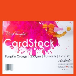 "CrafTangles cardstock 12"" by 12"" (250 gsm) (Set of 10 sheets) - Pumpkin Orange"