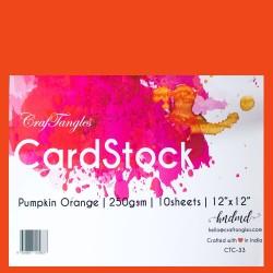 CrafTangles cardstock 12 by 12 (250 gsm) (Set of 10 sheets) - Pumpkin Orange