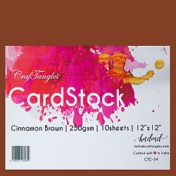 "CrafTangles cardstock 12"" by 12"" (250 gsm) (Set of 10 sheets) - Cinnamon Brown"