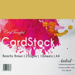 CrafTangles cardstock A4 (250 gsm) (Set of 10 sheets) - Beachy Brown
