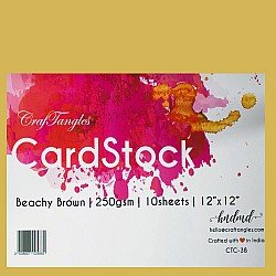 "CrafTangles cardstock 12"" by 12"" (250 gsm) (Set of 10 sheets) - Beachy Brown"
