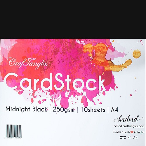 CrafTangles cardstock A4 (250 gsm) (Set of 10 sheets) - Midhnight Black