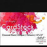 """CrafTangles cardstock 12"""" by 12"""" (250 gsm) (Set of 10 sheets) - Charcoal Black"""