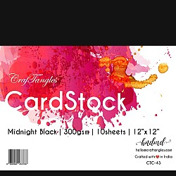 "CrafTangles cardstock 12"" by 12"" (300 gsm) (Set of 10 sheets) - Midnight Black"