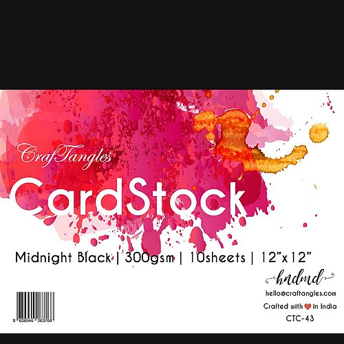 """CrafTangles cardstock 12"""" by 12"""" (300 gsm) (Set of 10 sheets) - Midnight Black"""