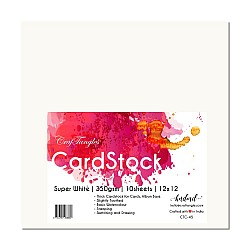 "CrafTangles cardstock 12"" by 12"" (350 gsm) (Set of 10 sheets) - Super White"