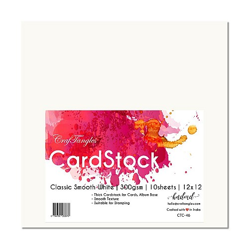 "CrafTangles cardstock 12"" by 12"" (300 gsm) (Set of 10 sheets) - Classic Smooth White"