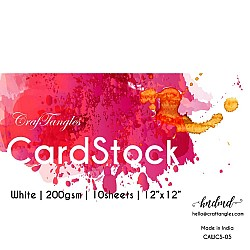 "CrafTangles White cardstock (Set of 10 sheets) - 12"" by 12"" (200 gsm)"
