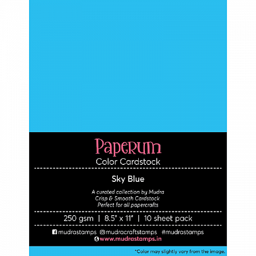 Mudra Paperum cardstock (8.5 by 11 inches) (250 gsm) (Set of 10 sheets) - Sky Blue