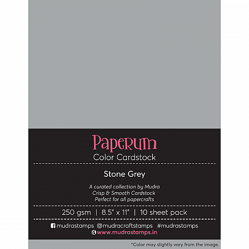 Mudra Paperum cardstock (8.5 by 11 inches) (250 gsm) (Set of 10 sheets) - Stone Grey