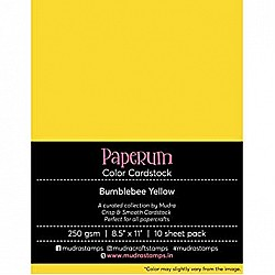 Mudra Paperum cardstock (8.5 by 11 inches) (250 gsm) (Set of 10 sheets) - Bumblebee Yellow