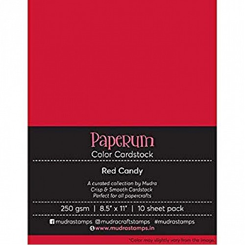 Mudra Paperum cardstock (8.5 by 11 inches) (250 gsm) (Set of 10 sheets) - Red Candy