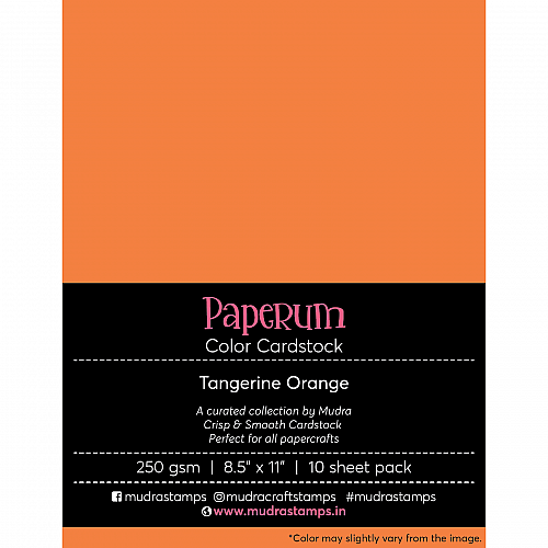 Mudra Paperum cardstock (8.5 by 11 inches) (250 gsm) (Set of 10 sheets) - Tangerine Orange